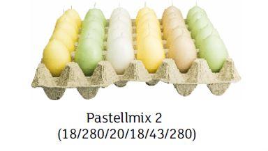 pastellmix 2 - Steige mit 30 x Ostereierkerzen Pastellmix II