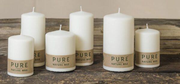 pure 600x280 - 12 x Pure nachhaltige Kerze Größe 90x60 mm Safe Candle Ausführung